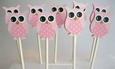 Pretty in Pink Owl Cupcake Toppers- Owl Baby Shower Decorations..set of 12 @Kristin Plucker Byrd