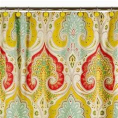 $35/ echodesign.com morrocan inpsired shower curtain in fun bright colors to give a pop to my white bathroom