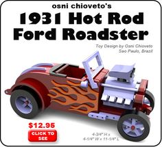 Osni Chioveto's 1931 Hot Rod Ford Roadster Wood Toy Plan Set