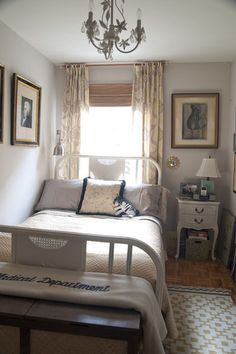 eclectic bedroom by Lauren Gries  Big is not always better. Not only do I like the coziness but I love the window treatment/