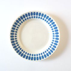 French vintage plates set of 7 blue plates french Tartan Digoin Sarreguemines Shabby chic