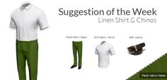 Design custom tailored Pants for men and get 2 weeks shipping. Short Sleeve Linen Shirt, Green Chinos, Brown Belt, Tailored Trousers, Simple Style, White Shorts, Sweatpants, Fabric, Summer