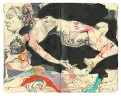 James Jean's 2009 Moleskine Life Drawing, Figure Drawing, Drawing Sketches, Art Drawings, Drawing Faces, Drawing Tips, Kunstjournal Inspiration, Sketchbook Inspiration, Art And Illustration