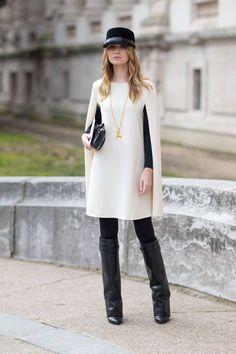 Fluffy weiße Jacke + Designer Stiefel + capitains mütze
