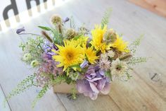 ひまわり/リョウブ/花どうらく/花屋/http://www.hanadouraku.com/flower arrengement/