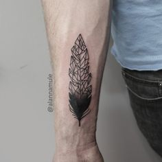 Black and white, dotwork, feather, geometric, forearm tattoo on TattooChief.com