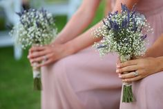 "baby breath and lavender bridesmaids bouquet - I love the ""wispy-ness"" baby breath adds to the arrangement!"