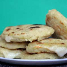 Arepas - a corn patty filled with cheese.   Recipe sounds delicious!