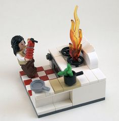 Kitchen mishap immortalized in LEGO Casa Lego, Lego Furniture, Lego Boards, Lego Activities, Lego For Kids, Lego Room, Pokemon, Lego Design, Lego Models