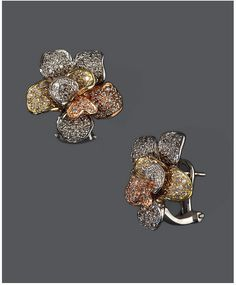 Trio by EFFY Diamond Diamond Flower Stud Earrings (1-7/8 ct. t.w.) in 14k Rose Gold and White Gold