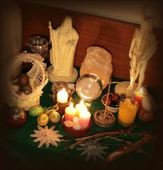 beautiful Ostara altar