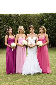 I like the idea that all the bridesmaid dresses are pink but different shades of pink, that way people who don't care for pink might be happier with a more purple/pink.