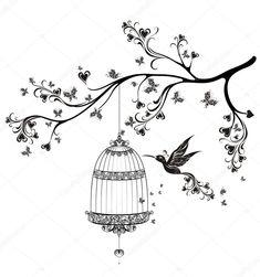 Descargar - Pájaros de las jaulas. primavera pájaros volando sobre la rama. ilustración vectorial — Ilustración de stock