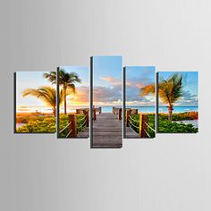 Stretched Canvas Art Coastal Views Scenery Set of 5 - USD $ 107.99