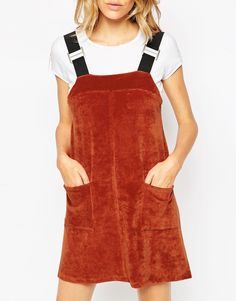 ASOS Cord Pinafore Dress with Patch Pockets $61.73