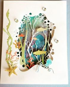 National Scrapbook Day 2017 – Loraine National Scrapbook Day 2017 Beneath the Surface — card using dies by Memory Box Kirigami, 3d Paper Art, Paper Cutting Art, Tarjetas Diy, Nautical Cards, Beach Cards, Marianne Design, Paper Cards, Homemade Cards