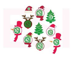 Christmas monogram set, SVG, DXF, EPS, vinyl cut files for use with Silhouette Studio and Cricut Design Space. by ESIdesignsdigital