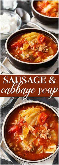 Sausage & Cabbage Soup – This low carb soup is easy to make and tastes delish! It's comfort food perfect for a cold winter's day. - Food and Drink Low Carb Soup Recipes, Cabbage Soup Recipes, Best Soup Recipes, Seafood Recipes, Cooking Recipes, Easy Recipes, Keto Recipes, Cabbage Roll Soup, Loaf Recipes