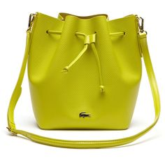 Lacoste Women's Chantaco Leather Bucket Bag ($228) ❤ liked on Polyvore featuring bags, handbags, shoulder bags, bags bags, leather goods, warm olive, leather handbags, bucket bags, green handbags and green leather shoulder bag