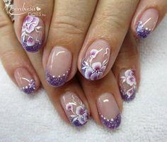 Nail Purple Nail Art, Blue Acrylic Nails, Glitter Nail Art, Pink Nails, Classy Nails, Cute Nails, Pretty Nails, Fingernail Designs, Gel Nail Designs