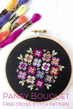 Free cross stitch pattern: Pansy bouquet on black, You can create really specific designs for fabrics with cross stitch. Cross stitch designs may nearly impress you. Cross stitch newcomers could make the designs they want without difficulty. Cross Stitch Love, Cross Stitch Borders, Modern Cross Stitch Patterns, Counted Cross Stitch Patterns, Cross Stitch Designs, Cross Stitching, Cross Stitch Embroidery, Embroidery Patterns, Embroidery Thread