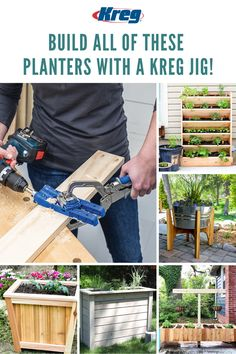 The essential tool to create the DIY garden of your dreams. Just imagine the planting possibilities! Make this summer amazing with the help of a Kreg Jig. Backyard Projects, Diy Wood Projects, Outdoor Projects, Wood Crafts, Kreg Pocket Hole Jig, Pocket Hole Screws, Kreg Jig Projects, Kreg Tools, Drill Guide