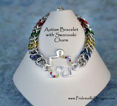 Autism Bracelet with Swarovski Puzzle Charm Half Persian Style. $25.00, via Etsy.