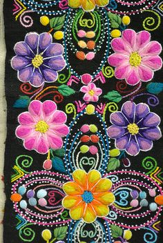 3-D crewel embroidered flowers