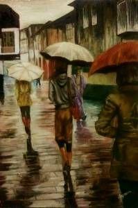 yağmur ve şemsiye yağlıboya tablo