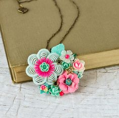 Statement Necklace, Floral Neon Jewelry, Shabby Chic Style ~ Alona Freeman / Lonkoosh