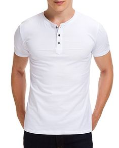 Boisouey Men's Casual Slim Fit Short Sleeve Henley T-Shirts Cotton Shirts White XL Mens Casual T Shirts, Men Casual, Mens Tops, Stretch Shorts, Henley Shirts, Workout Shirts, Cotton Shirts, Slim, Sleeve