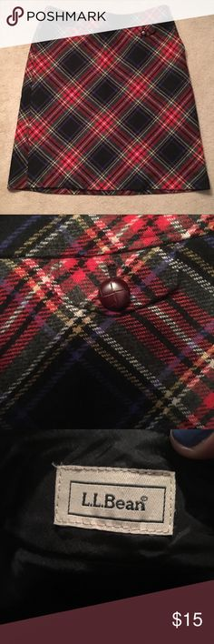 "L.L. Bean Size 14 Plaid Skirt Size 14 plaid skirt from L.L. Bean with ""pocket"" accent as shown. Size zipper with hook and eye located on the left size of the garment (if being worn). Materials used are pictured above. Skirt has been worn once, falls to my knees and I am 5'9 L.L. Bean Skirts Pencil"