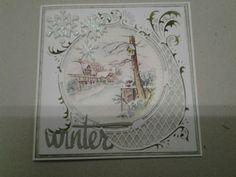 Winterkaart met mal en plaatje van marianne design de sneeuwvlokken zijn gemaakt van glitterfoam