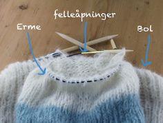Raglanfelling for nybegynnere Knitting Patterns, Crochet, Diy, Fashion, Moda, Knit Patterns, Bricolage, Fashion Styles, Ganchillo