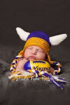 Minnesota Viking Hat with ear flaps and ties by CurleyQsCorner, $23.00