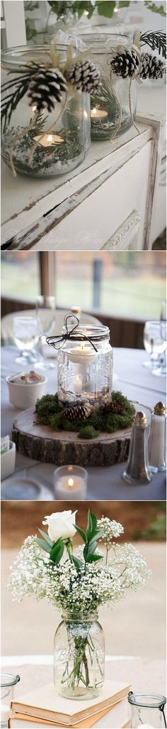 Mason Jars Wedding Centerpieces #weddingideas #wedding #weddingcenterpieces #weddingdecorations