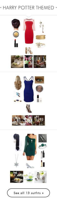 """""""~ HARRY POTTER THEMED ~"""" by soso-alliso ❤ liked on Polyvore featuring Little Mistress, JustFab, H&M, Giorgio Armani, Topshop, Two Lips, Stephen Dweck, Max Factor, Charlotte Russe and Diana Ferrari"""