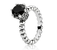 Pandora Silver and Melanite Twist Ring