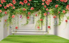 Купить обои с изображением «Тоннель с лианами роз» на стену, они идеально подойдут для дизайна Вашей комнаты: гостиной, спальни, зала, детской и кухни.