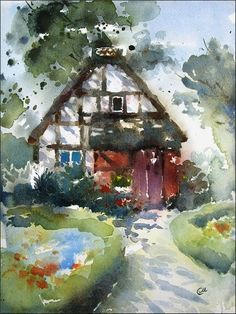 Fairytale House Watercolor Original Watercolor by CMwatercolors, $120.00