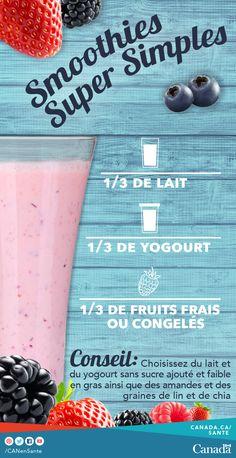 Mélangez 1/3 de lait sans sucre ajouté et faible en gras, 1/3 de yogourt sans sucre ajouté et faible en gras et 1/3 de fruits congelés pour créer de délicieux smoothies! Trouver plus d'idées de recettes pour inclure des fruits et des légumes congelés dans vos menus : http://www.canadiensensante.gc.ca/eating-nutrition/healthy-eating-saine-alimentation/tips-conseils/recipes-recettes/index-fra.php