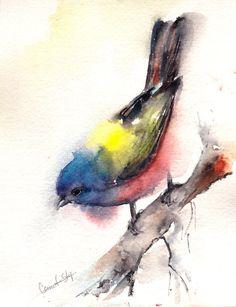 Ammer-Vogel-Aquarell Original Aquarell Aquarell-Vogelkunst  Einer der eine Art Kunst-Aquarell Kunst Stück  Medium: Top Marken-Aquarelle Farben auf