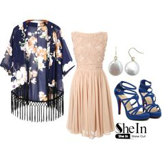 A Lady by roseunspindle on Polyvore featuring French Connection, floral, Blue, Heels, cream and kimono