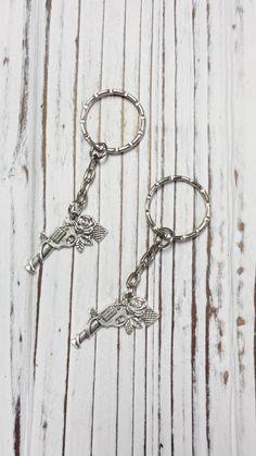 Key Chain Gun Key Chain Gun and Flowers by AprilsHandmadeJewels