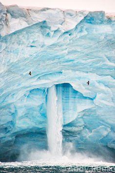Iceberg Waterfall - Svalbard, Norway