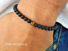 Mens bracelet,Unisex bracelet,Frosted Onyx bracelet,Tiger Eye bracelet,Stretch bracelet,Gemstone bracelet,Energy bracelet,Yoga bracelet