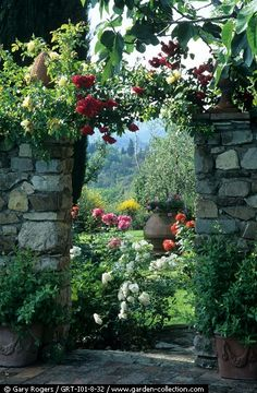 View of the Rose Garden through an Stone Archway ....