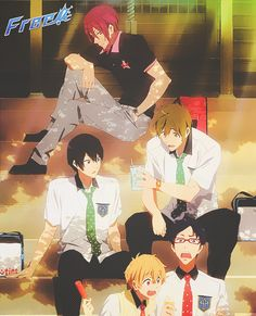 LOOK at how pouty rin is. he wants to hang out with makoto and haru too...he wants to join in on their date