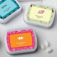 A simple memory for a Rehearsal Dinner, or Bridal Shower. Personalized Wedding Favor Mint Tins (Many Designs to choose from)