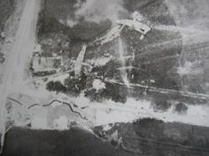 The first two of three Gliders used to assault Pegasus Bridge (Pegasus Bridge is in the bottom left corner of the photo)